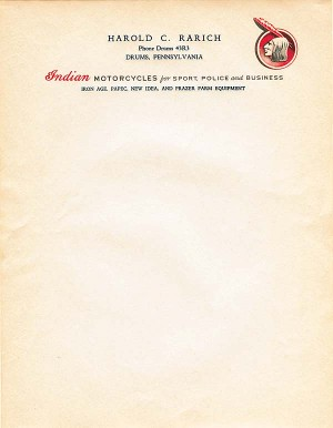 Indian Motorcycles Letterhead