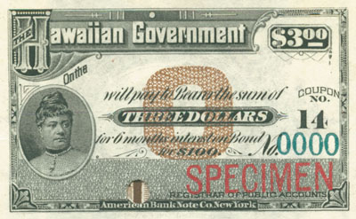 Hawaiian Government $3 Coupon