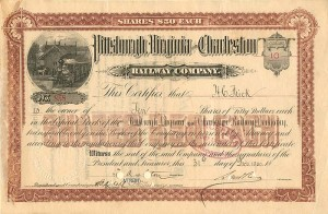 Pittsburgh, Virginia and Charleston Railway Company signed by H.C. Frick - SOLD
