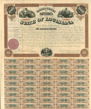 Gov. Henry Clay Warmoth signed State of Louisiana $1,000 Bond