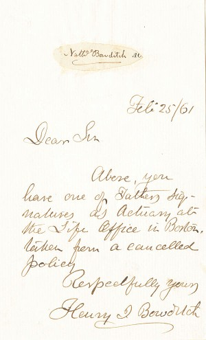 Nathaniel Bowditch & Henry Bowditch - Autographed Letter - SOLD