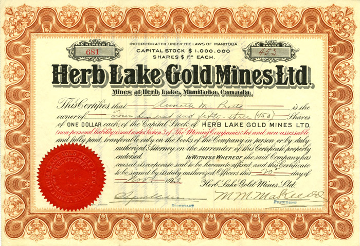 Herb Lake Gold Mines, Ltd