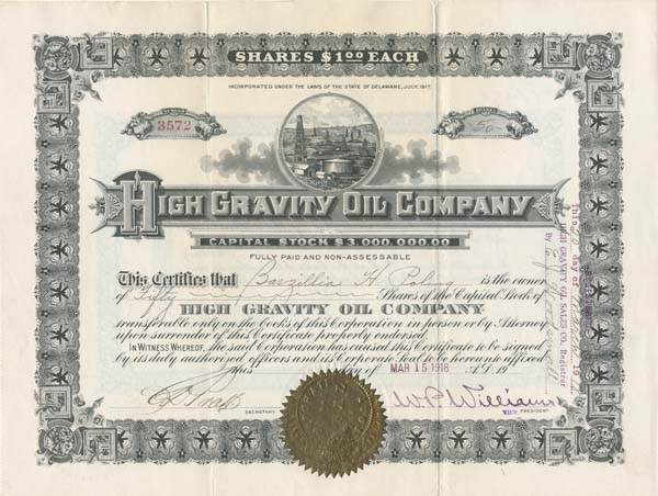 High Gravity Oil Company - Stock Certificate