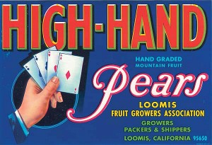 Fruit Crate Label - High-Hand Pears