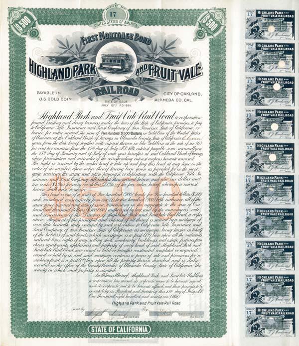 Highland Park & Fruit Vale Railroad - Bond - SOLD