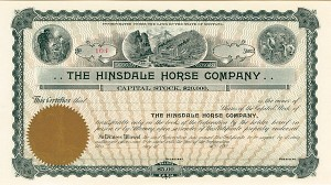 Hinsdale Horse Company - Stock Certificate