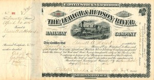 Lehigh & Hudson River Railway Company Issued to and Signed by Garrett A. Hobart - Stock Certificate