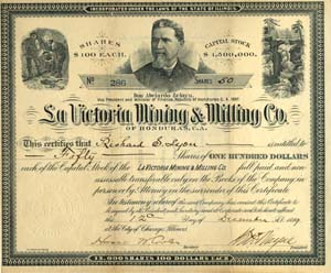 La Victoria Mining and Milling Co. of Honduras - Stock Certificate - SOLD