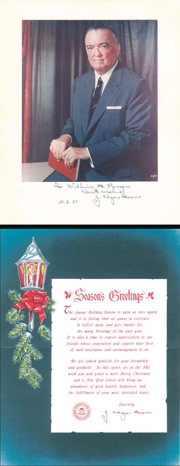 J. Edgar Hoover Portrait & Christmas Card