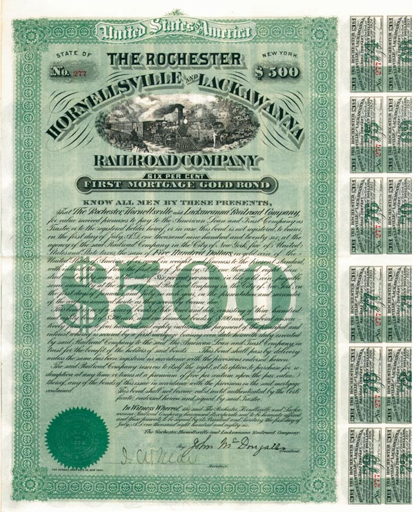 Rochester Hornellsville & Lackawanna Railroad - Bond - SOLD