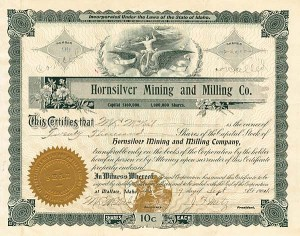 Hornsilver Mining & Milling Company - Stock Certificate