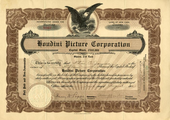 Houdini Picture Corporation with Houdini Signature - SOLD