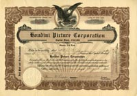 Houdini Picture Corporation with Houdini Signature - Stock Certificate - SOLD