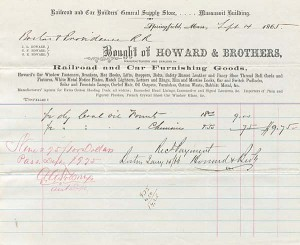 Howard and Brothers Receipt