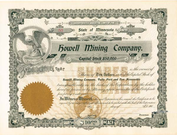 Howell Mining Company - Stock Certificate