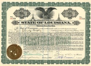 Huey Long signed State of Louisiana Gold Bond - SOLD