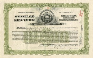 State of New York issued to (not signed) by Charles E. Hughes - SOLD