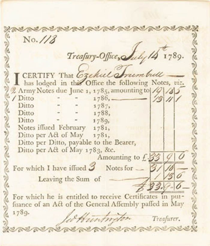 Jedediah Huntington - Treasury Office Exchange of Notes
