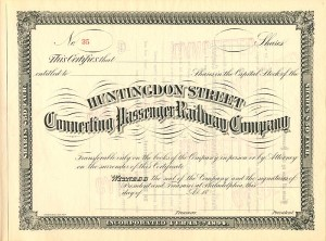 Huntingdon Street Connecting Passenger Railway Co - SOLD