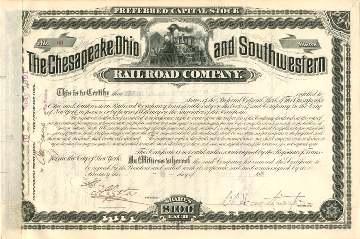 Collis Potter Huntington signed Chesapeake, Ohio and Southwestern Railroad Co - Stock Certificate