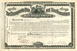 C.P. Huntington signed Chesapeake, Ohio and Southwestern Railroad Company