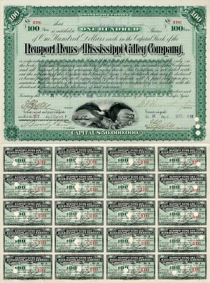 Newport News and Mississippi Valley Company signed by Collis P. Huntington - Stock Certificate