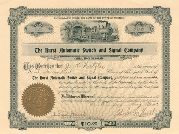 Hurst Automatic Switch & Signal Company - SOLD