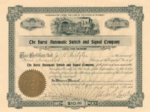 Hurst Automatic Switch & Signal Company - Stock Certificate - SOLD