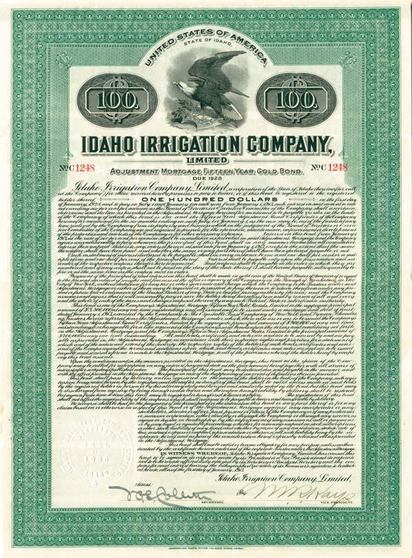 Idaho Irrigation Company - Bond