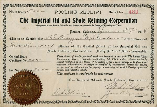 Imperial Oil and Shale Refining Corporation - SOLD
