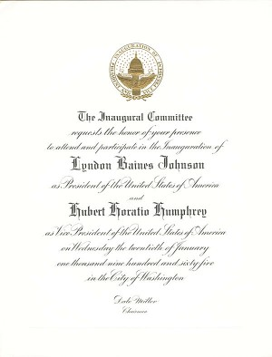 Johnson/Humphrey Inaugural Invitation