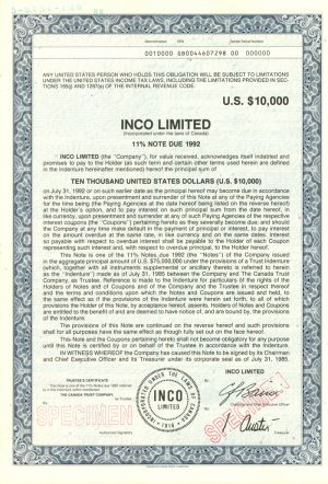 Inco Limited $10,000 Bond