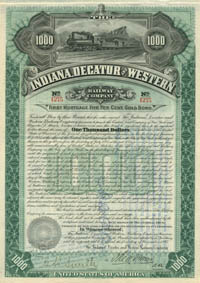 Indiana, Decatur and Western Railway Company - $1,000