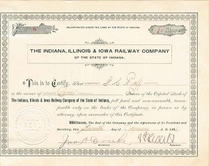 Indiana, Illinois & Iowa Railway Company - SOLD