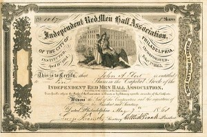 Independent Red Men Hall Association - Stock Certificate
