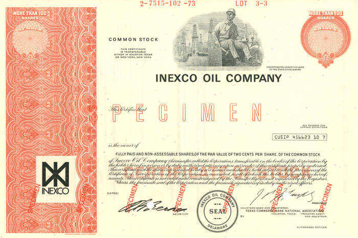 Inexco Oil Company - Stock Certificate