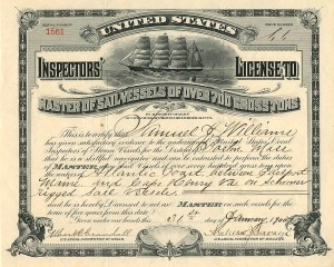 United States Inspectors' License - SOLD