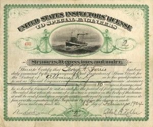United States Inspectors' License to Special Engineers - SOLD