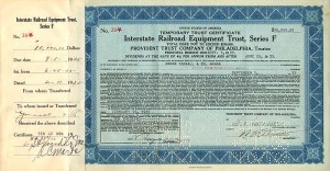 Interstate Railroad Equipment Trust, Series F - $10,000 Bond - SOLD