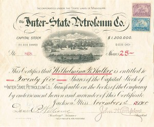 Inter-State Petroleum Co. - Stock Certificate - SOLD