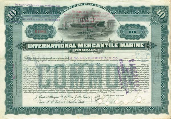 J. P. Morgan, Bruce Ismay, Peter A. B. Widener - International Mercantile Marine - Company that Made the Titanic - Stock Certificate