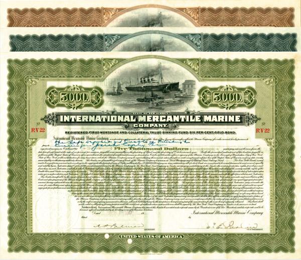 International Mercantile Marine Company - Set of 3 Bonds - Company that Made the Titanic