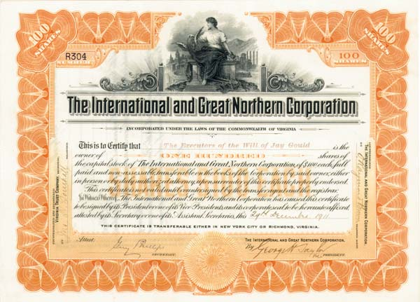 Jay Gould - International & Great Northern Corporation - Stock Certificate