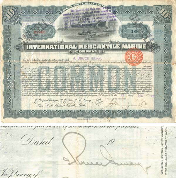 International Mercantile Marine issued to and signed by J. Bruce Ismay - Company that Made the Titanic - Stock Certificate - SOLD
