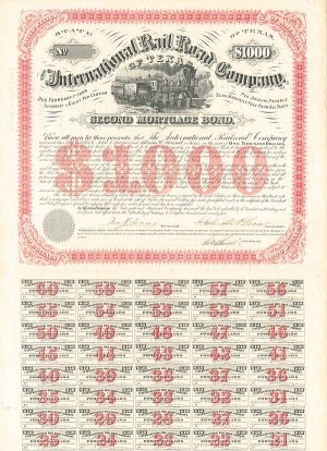 International Rail Road Co Texas $1,000 Uncanceled Bond signed by Galusha Grow