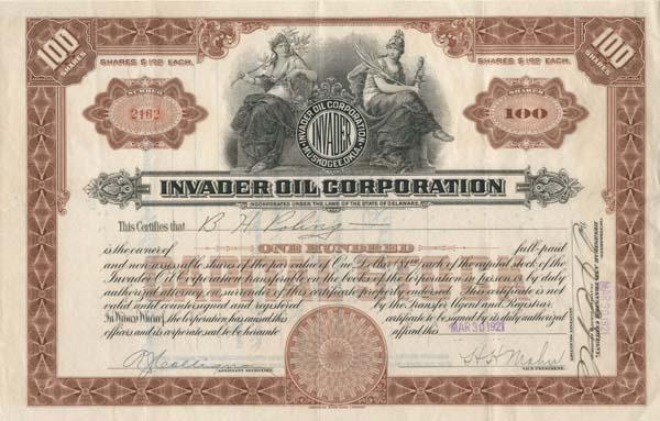 Invader Oil Corporation - Stock Certificate