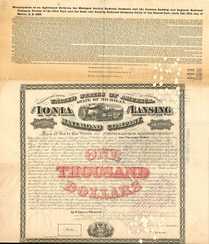 Ionia and Lansing Railroad Company - $1,000 Bond