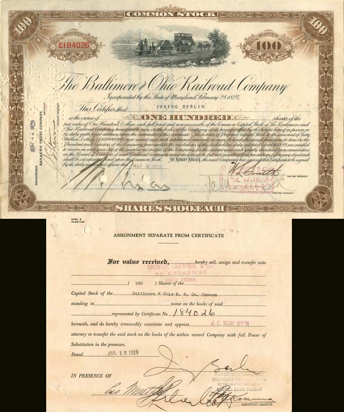 Baltimore and Ohio Railroad Company signed by Irving Berlin - Stock Certificate