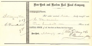 New York and Harlem Rail Road Company issued to C. Vanderbilt - Stock Certificate