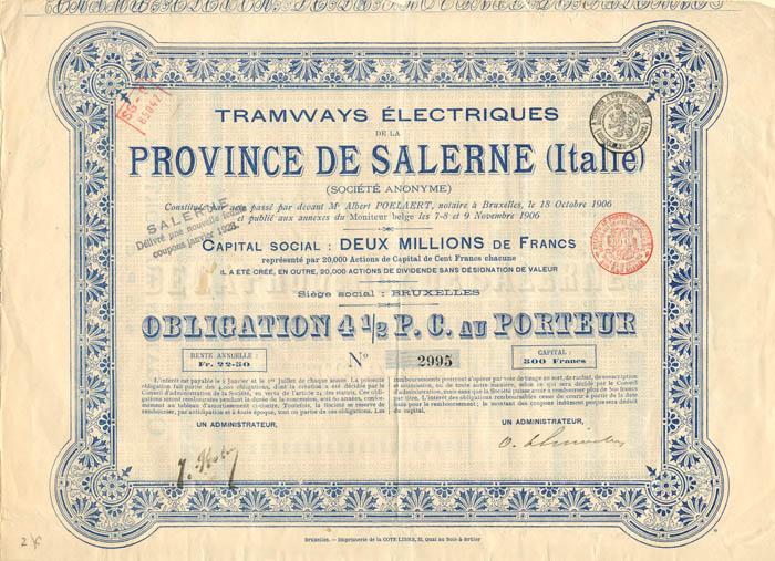 Tramways Electriques de la Province De Salerne (Italie)